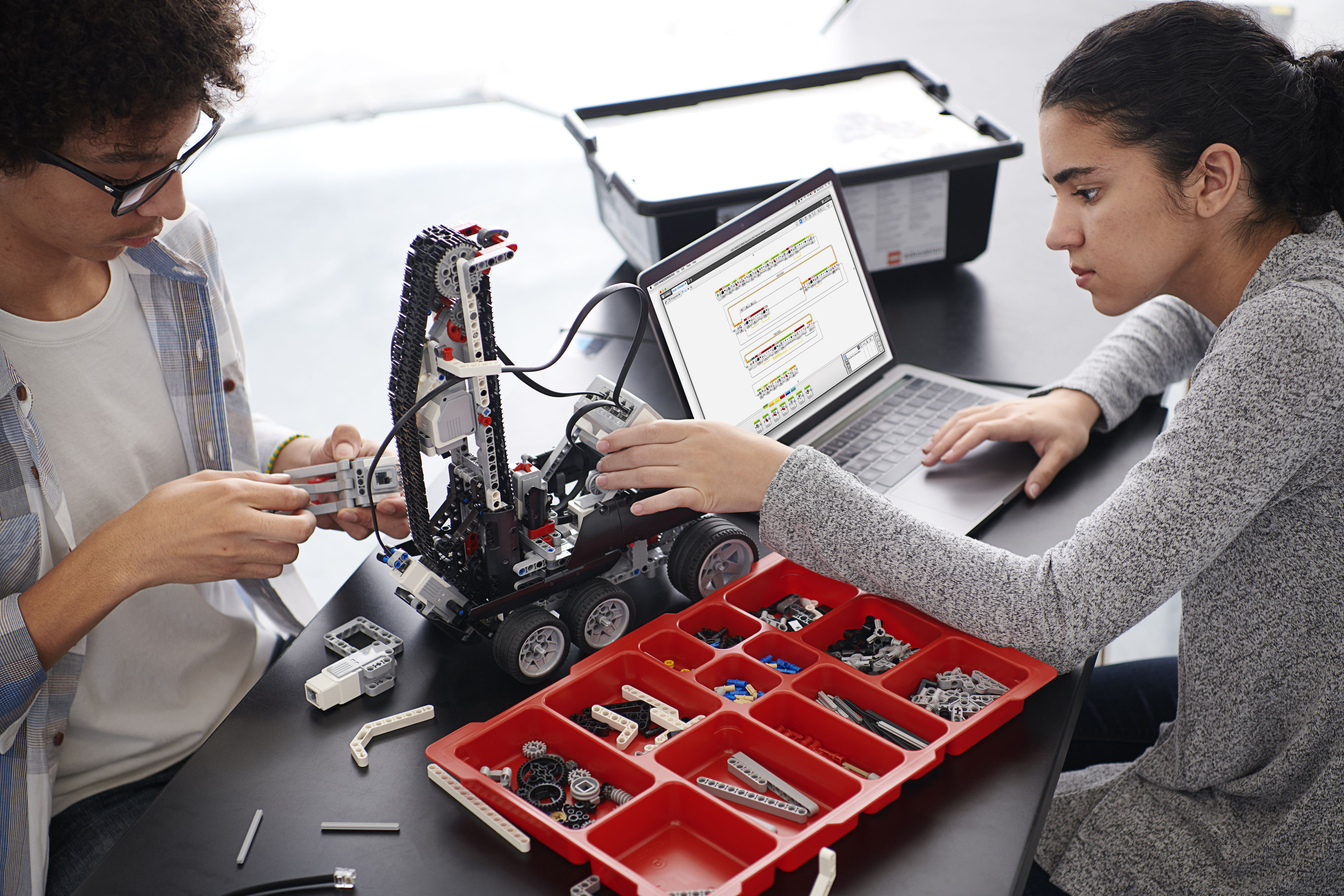 Further Education student using LEGO Education EV3 Mindstorms robot to learn how to program